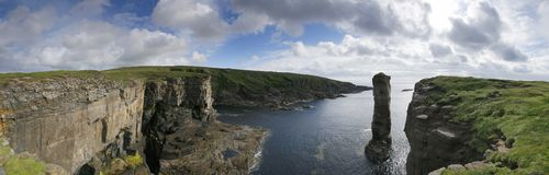 Yesnaby castle pan. Panorama of Orkney coastline including Yesnaby Castle royalty free stock images