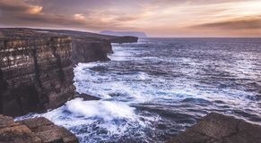Yesnaby, Orkney - Cliffs and waves royalty free stock images