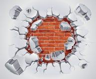 Yeso viejo y daño rojo de la pared de ladrillo. ilustración del vector