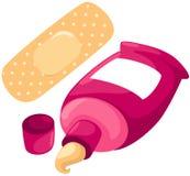 Yeso y ungüento Bandaid en tubo Foto de archivo libre de regalías