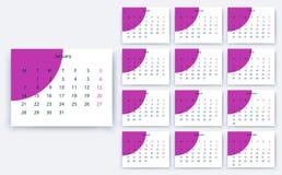 Yesr semplice 2019, progettazione di riserva eps10 del calendario di vettore illustrazione di stock