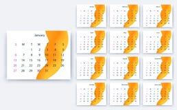 Yesr semplice 2019, progettazione di riserva eps10 del calendario di vettore illustrazione vettoriale