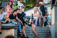 Yessentuki Stavropol territorium/Ryssland - Augusti 12, 2017: cosplay oudoors royaltyfri bild