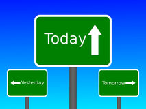 Yesterday Today Tomorrow. An image of a set of signs that say Yesterday Today Tomorrow Royalty Free Stock Images