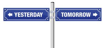 Yesterday Tomorrow Street Sign. YESTERDAY and TOMORROW, written on two blue signposts - symbol for history, evolution, progress, development and change Stock Images