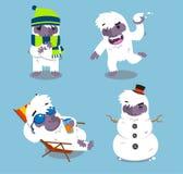 Yeti action set 2. Yeti Cold Winter Set  illustration Royalty Free Stock Photos