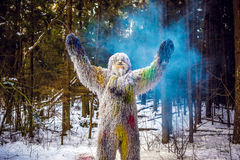 Yeti bajki charakter w zimy fantazi lasowej Plenerowej fotografii Obraz Stock