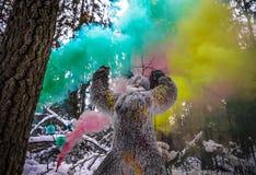 Yeti bajki charakter w zimy fantazi lasowej Plenerowej fotografii Zdjęcia Stock