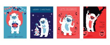 Yeti bigfoot characters cards for birthday, christmas, halloween. Vector illustration. Let s celebrate. Trick or treat vector illustration