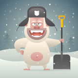 Yeti character holding shovel in winter forest. Illustration, Yeti character holding shovel in winter forest, format EPS 10 Stock Photo