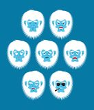 Yeti emoji set. Bigfoot sad and angry face. Abominable snowman g. Uilty and sleeping avatar. Vector illustration Vector Illustration
