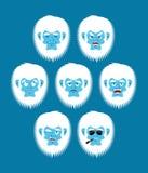 Yeti emoji set. Bigfoot sad and angry face. Abominable snowman g Royalty Free Stock Image