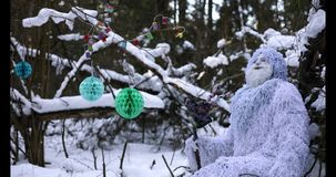 Yeti fairy tale character in winter forest. Outdoor fantasy 4K footage. stock video footage