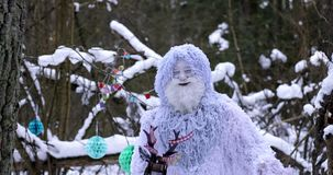 Yeti fairy tale character in winter forest. Outdoor fantasy 4K footage. stock video