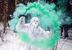 Yeti fairy tale character in winter forest. Outdoor fantasy photo. Yeti fairy tale character in winter forest. Outdoor fantasy photo Stock Images