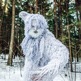 Yeti fairy tale character in winter forest. Outdoor fantasy photo. Yeti fairy tale character in winter forest. Outdoor fantasy photo stock photography