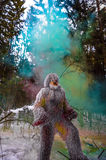Yeti fairy tale character in winter forest. Outdoor fantasy photo. Stock Photo