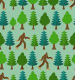 Yeti in forest pattern seamless. Bigfoot and trees background. Abominable snowman ornament. sasquatch texture stock photography