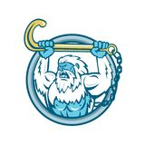 Yeti Lifting J Hook Circle Retro. Retro style illustration of a muscular yeti or Abominable Snowman, an ape-like entity lifting or holding up a j hook or tow stock illustration