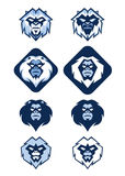 Yeti Logo. Illustration of several different white blue Yeti head logo Stock Photo