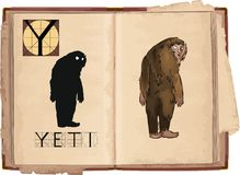 Yeti. Open book with letter Y with Yeti Royalty Free Stock Image