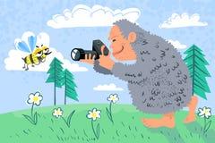 Yeti photographer. Summer card with yeti photographer Stock Images