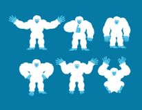Yeti set poses and motion. Bigfoot happy and yoga. Abominable sn. Owman sleeping and angry. Monster guilty and sad. Vector illustration royalty free illustration