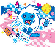 Yeti Snacks. A cute yeti helps himself to an ice cream truck Royalty Free Stock Images