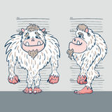 Yeti 2. Vector illustration of a yeti from two perspectives against the background of the measuring tape Royalty Free Stock Photos