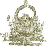 YettiYoga_original. Scratchboard illustration of bigfoot doing yoga in the woods with the forest animals gawking at him Stock Image