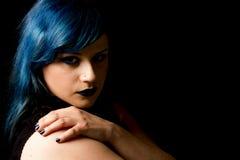 Yeux ange-bleus foncés Photo stock