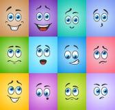 Yeux bleus dans les émotions sur coloré illustration stock
