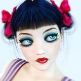 Yeux bleus de poupée de fille du portrait 3D grands et maquillage lumineux Photos stock
