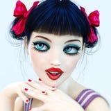 Yeux bleus de poupée de fille du portrait 3D grands et maquillage lumineux Image libre de droits