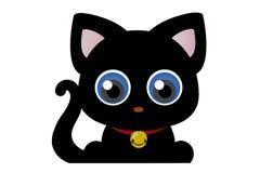 Yeux bleus drôles de silhouette de bande dessinée de chat noir Image libre de droits
