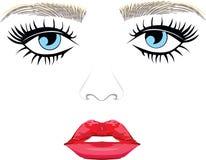 Yeux bleus et lèvres illustration stock