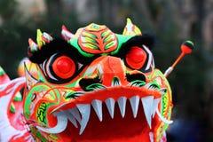 Yeux chinois de masque de dragon Photographie stock