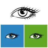 Yeux d'isolement sur le fond blanc, vert clair et bleu illustration de vecteur