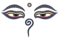 Yeux de Bouddha, Népal Image stock