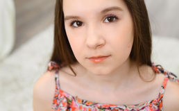 Yeux de brun de petite fille Photo libre de droits