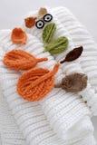 Yeux de l'hiver, fond simple de feuille tricotée Photos stock