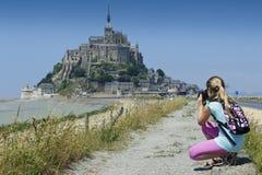 Yeux de Le Mont-Saint-Michel d'un enfant Photographie stock