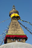 Yeux de sagesse de Bouddha de stupa de bodhnath à Katmandou, Népal Image libre de droits