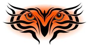 Yeux de tigre, tatouage tribal Image stock