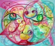 Yeux et visages surréalistes colorés Photo libre de droits