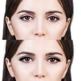 Yeux femelles avant et après l'extension de cil Photographie stock libre de droits