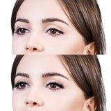 Yeux femelles avant et après l'extension de cil Image stock