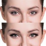 Yeux femelles avant et après l'extension de cil Images libres de droits