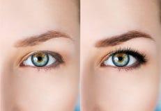Yeux femelles avant et après l'extension de cil Photo stock