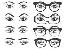Yeux femelles et yeux avec des verres Photographie stock